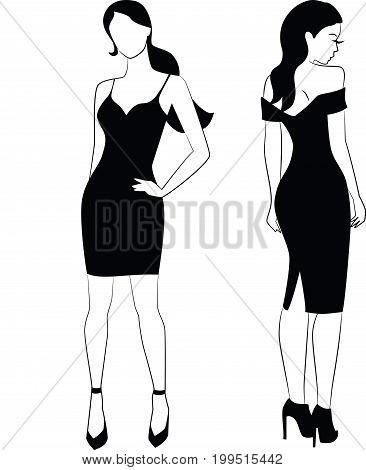 Two Elegant woman  in little black dress