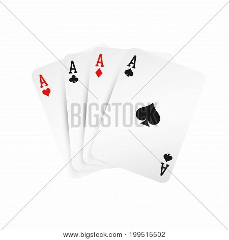 Four Aces. Winning Poker Hand Concept. Playing Cards Isolated On White Background