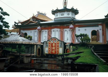 SINGAPORE / CIRCA 1990: The Kong Meng San Phor Kark See Monastery, also called the Bright Hill Pujue Chan Monastery, is Singapore's largest Buddhist temple.