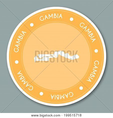 Gambia Label Flat Sticker Design. Patriotic Country Map Round Lable. Country Sticker Vector Illustra