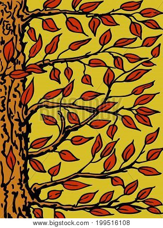 Background with tree. The trunk branches and leaves close-up. Vector illustration.