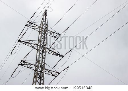 Power Transmission Line On a cloudy day
