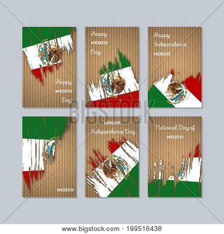 Mexico Patriotic Cards For National Day. Expressive Brush Stroke In National Flag Colors On Kraft Pa