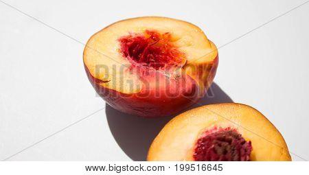 Nectarine. Nectarine on white background. Sweet fresh fruit.