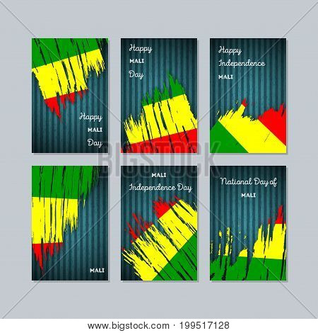 Mali Patriotic Cards For National Day. Expressive Brush Stroke In National Flag Colors On Dark Strip