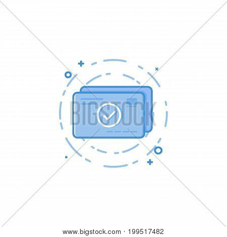 Vector illustration of flat bold line credit cards icon. Graphic design concept of successful pay, internet earn, plastic card. Use in Web Project and Applications. Blue outline isolated object.