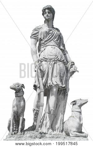 Ancient sculpture Diana (Artemida Artemis). Goddess of of the moon wildlife nature and hunting.