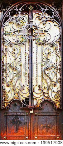 Closed metal medieval vintage door. No exit.