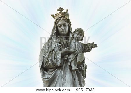 Statue of Virgin Mary and Jesus Christ as a symbol of love and kindness