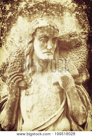 Jesus Christ - the Good Shepherd (fragment of ancient statue details) vintage styled