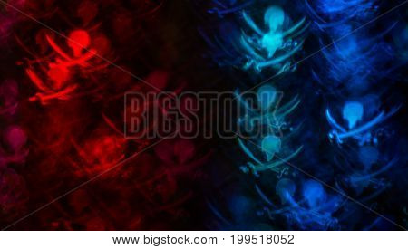Beautiful Background With Different Colored Skull And Swords, Abstract Background, Skull And Swords