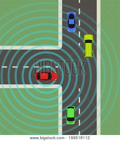Autonomous car top view. Self driving vehicle with radar sensing system. Driverless automobile on road. Vector illustration. poster