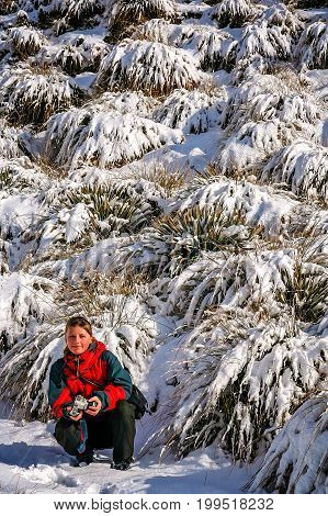 Trekker taking a break and posing with snow covered plants on the path leading up to the summit of Mount Roy, South Island, New Zealand