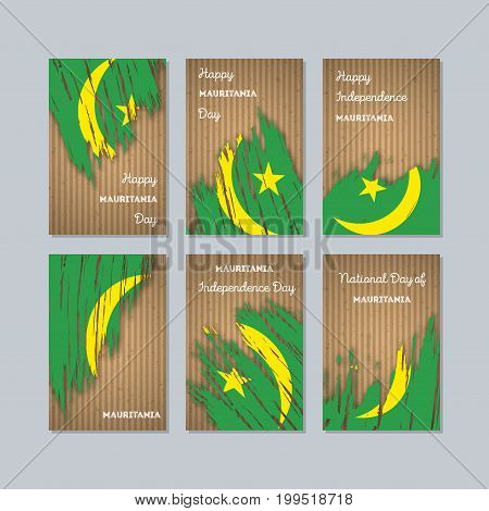 Mauritania Patriotic Cards For National Day. Expressive Brush Stroke In National Flag Colors On Kraf