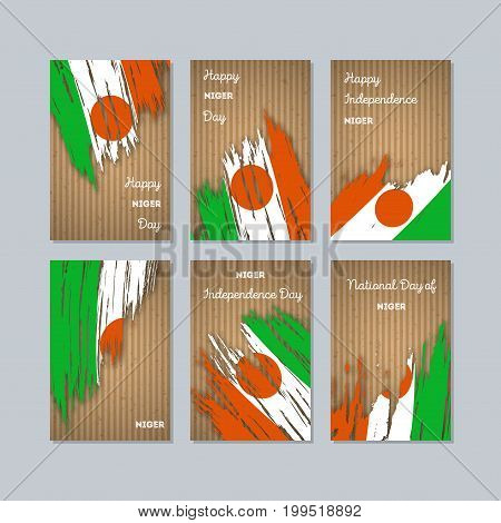 Niger Patriotic Cards For National Day. Expressive Brush Stroke In National Flag Colors On Kraft Pap