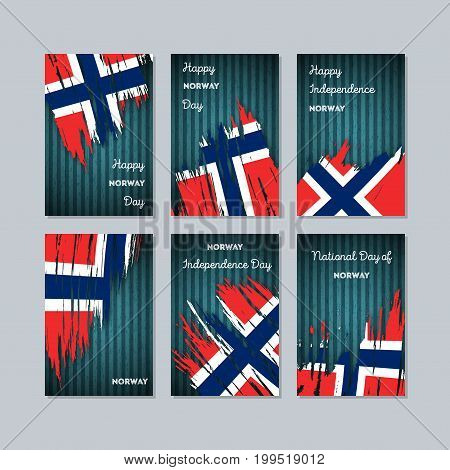 Norway Patriotic Cards For National Day. Expressive Brush Stroke In National Flag Colors On Dark Str