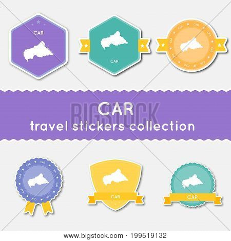 Central African Republic Travel Stickers Collection. Big Set Of Stickers With Us State Map And Name.