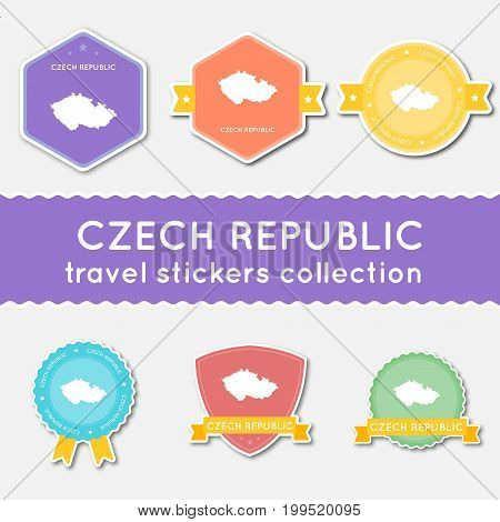 Czech Republic Travel Stickers Collection. Big Set Of Stickers With Country Map And Name. Flat Mater