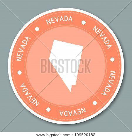 Nevada Label Flat Sticker Design. Patriotic Us State Map Round Lable. Round Badge Vector Illustratio