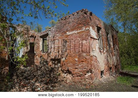 Abandon damaged red bricks building exterior conceptual