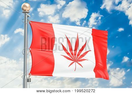 Legalization of cannabis in Canada. Canadian flag with marijuana leaf 3D rendering