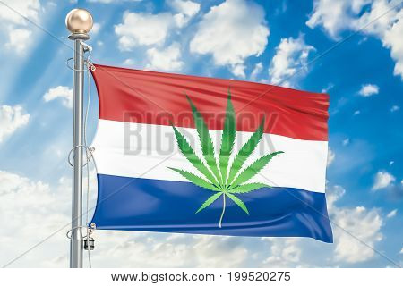 Legalization of cannabis in Netherlands flag with marijuana leaf 3D rendering