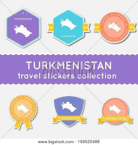 Turkmenistan Travel Stickers Collection. Big Set Of Stickers With Country Map And Name. Flat Materia