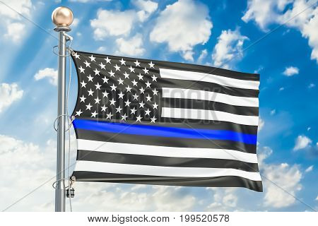 Thin Blue Line. Black Flag of US with Police Blue Line 3D rendering