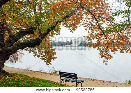 Autumn in Washington DC - Jefferson Memorial as seen from Tidal Basin