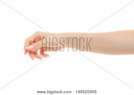 Female hand gestures emotions on a white background isolation