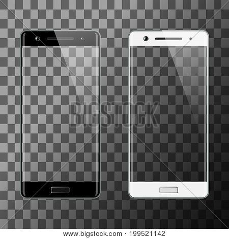 Black and white smartphone. Mobile smart phone with transparent screen. Cell phone mockup design. Vector illustration.