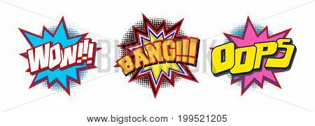 Set of comic text sound effect Wow Bang and Oops. Cartoon pop art design speech bubble with emotional text isolated on white background. Vector illustration.