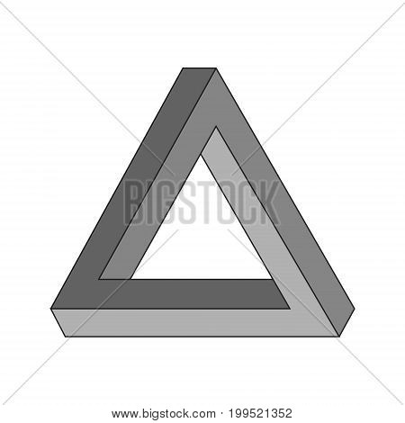 Penrose triangle - triangular impossible object. Geometric optical illusion. Vector illustration.