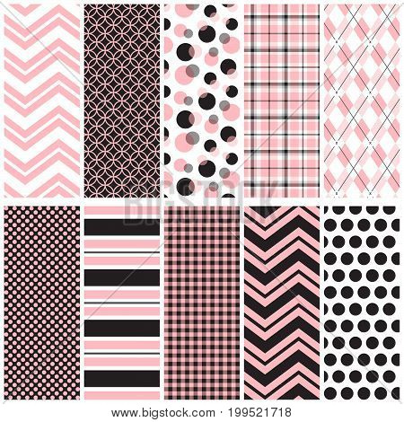 10 seamless pink and black patterns. File includes: chevrons, circles, plaid, argyle, polka dots, stripes and gingham.
