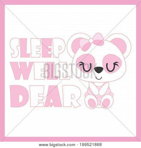 Cute baby panda sleep well vector cartoon illustration for baby shower card design, kid t shirt design, and wallpaper