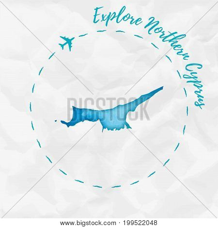 Northern Cyprus Watercolor Map In Turquoise Colors. Explore Northern Cyprus Poster With Airplane Tra