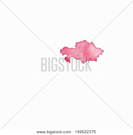 Kazakhstan Watercolor Map In Red Colors. Visit Kazakhstan Poster With Airplane Trace And Handpainted