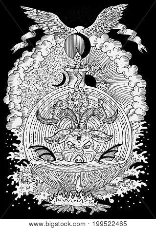 White mystic illustration with spiritual and christian religious symbols as Devil, Eve and Adam, hell and paradise on black background. Occult and esoteric drawing, gothic and wicca concept