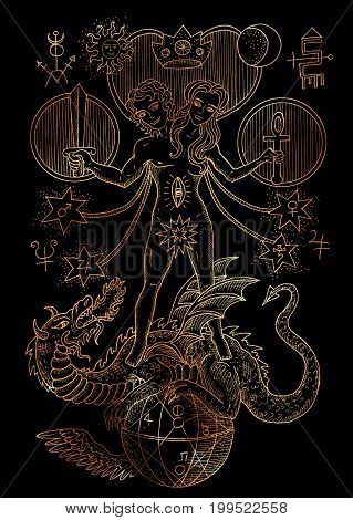 Mystic illustration with spiritual and alchemical symbols, androgyne, twins or Gemini concept on black background. Occult and esoteric drawing, gothic and wicca concept