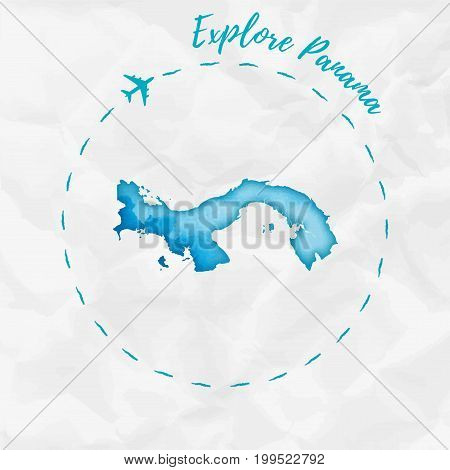 Panama Watercolor Map In Turquoise Colors. Explore Panama Poster With Airplane Trace And Handpainted