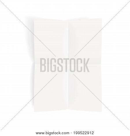 Folded paper sheet mock-up with a shadow. Top view to realistic vector template