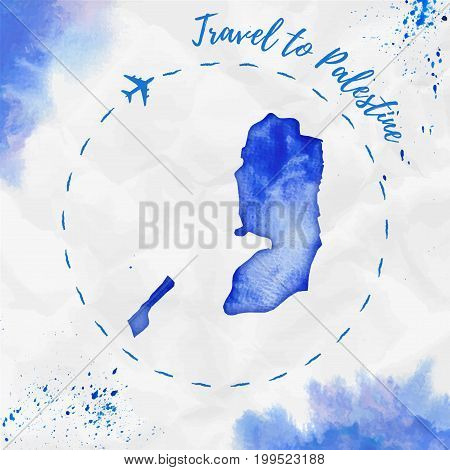 Palestine Watercolor Map In Blue Colors. Travel To Palestine Poster With Airplane Trace And Handpain