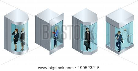Isometric vector design of the elevator with people inside and button panel. Realistic empty elevator hall interior with close metallic lift doors.