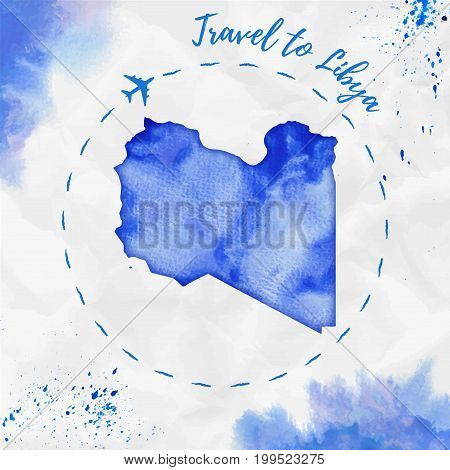 Libya Watercolor Map In Blue Colors. Travel To Libya Poster With Airplane Trace And Handpainted Wate