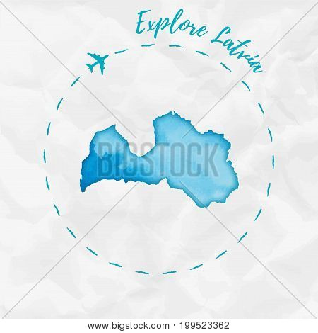 Latvia Watercolor Map In Turquoise Colors. Explore Latvia Poster With Airplane Trace And Handpainted