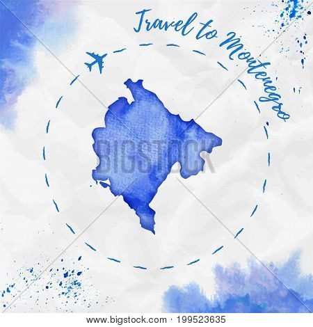 Montenegro Watercolor Map In Blue Colors. Travel To Montenegro Poster With Airplane Trace And Handpa