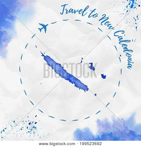 New Caledonia Watercolor Map In Blue Colors. Travel To New Caledonia Poster With Airplane Trace And
