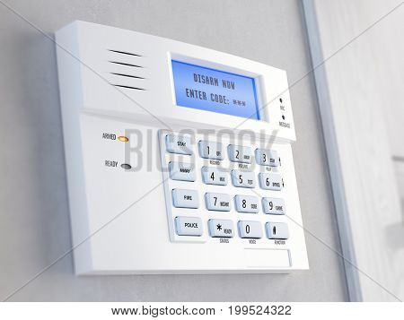 Office of home security alarm concept. Home security alarm keypad - 3d rendering