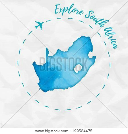 South Africa Watercolor Map In Turquoise Colors. Explore South Africa Poster With Airplane Trace And
