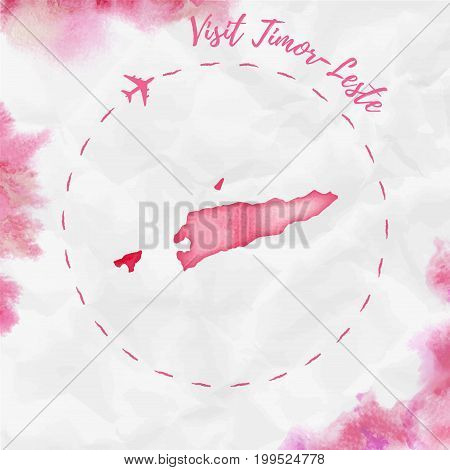 Timor-leste Watercolor Map In Red Colors. Visit Timor-leste Poster With Airplane Trace And Handpaint
